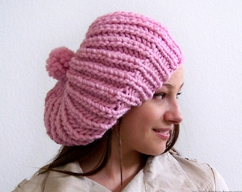 Knit Hat With Pom Pom, Pink Hat, Chunky Knit Hat, Pom Pom Hat, Womens Slouchy Beanie, Knit Slouchy Hat, Chunky Knit Hat, Womens Hat