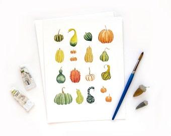 Fall Pumpkins Squash Gourds   Original Watercolor Autumn Illustration