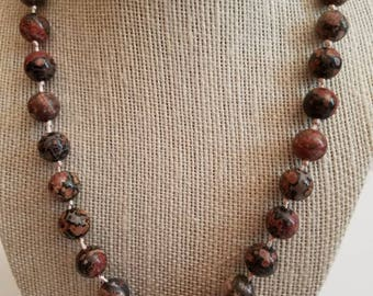 Leopard Skin Jasper Stones Necklace beaded
