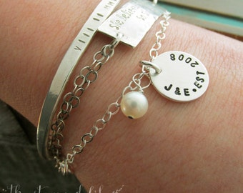 Initials and Anniversary Date, Charm Bracelet, Hand Stamped, Personalized Bracelet
