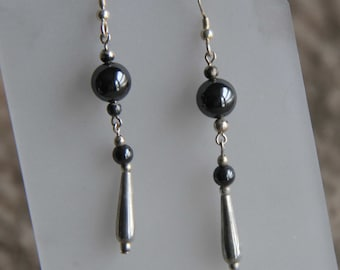 Hematite with sterling silver taper