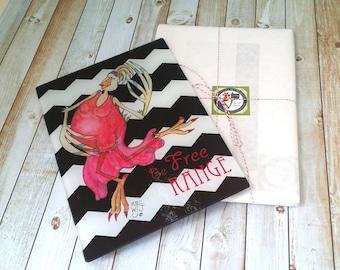 Glass Cutting Board Free Range Chicken black and white chevron coral pink Dancing Hen Life Joy Celebrate Inspire  8x11