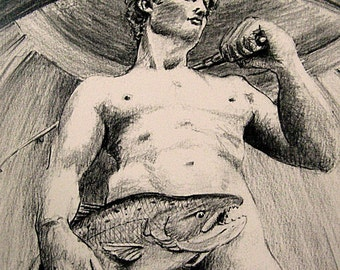 David catches large trout... 8x10  Funny Fish Art Pencil drawing Print by Barry Singer Michelangelo Parody