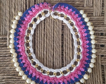knitted with Sparkling Pearls Choker