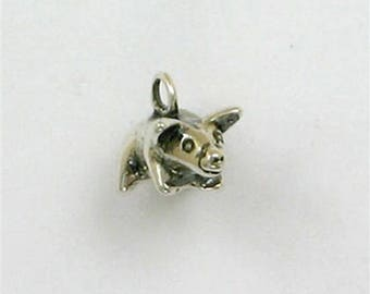 925 Sterling Silver 3-D Pig Charm or Jewelry