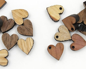 """Wooden Heart Beads - 12 pcs - Minis Itsies - 1/2"""" - Wooden Heart Charms - With or Without Holes - by Timber Green Woods USA!"""