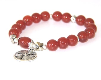 Carnelian Stretch Bracelet with Labyrinth and Butterflies - Spiritual Yoga Jewelry