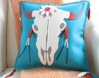 Southwest Bull Skull Pillow with Big Flower and Feather Tassels in Turquoise, White and Coral Red