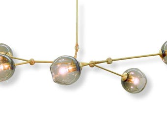 5 Globe Hand Blown Glass Staccato Branch Chandelier Hanging Light Sculpture