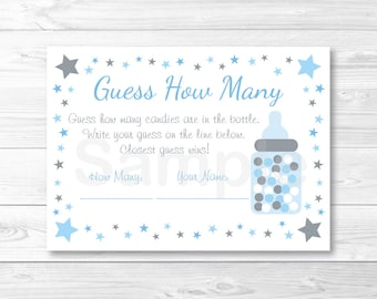 Cute Twinkle Star Guess How Many Game / Twinkle Star Baby Shower / Candy Guessing Game / Baby Blue & Grey / Printable INSTANT DOWNLOAD A369