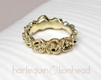 Full Wreath Rose Ring, 14K yellow gold plated, handmade in NY - 30% off spring sale, ready to ship. Rose gold/Silver options available.