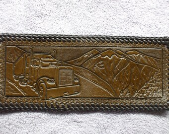 BROWN SEMI TRUCK wallet / billfold. truckers wallet (82)  ( I ship the same day as you order )