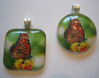 Hawaiian KAMEHAMEHA BUTTERFLY Hawaii - Glass Pendant Necklace - Your Choice of Shape