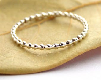 Beaded Stacking Ring: sterling silver ring, dainty ring, simple ring, petite ring, small ring, stacking ring, stackable ring, beaded ring