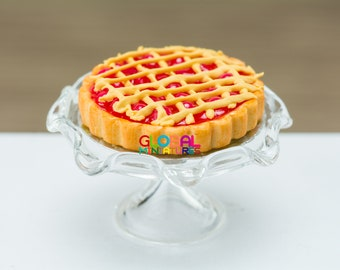 Dollhouse Miniatures Deep Filled Cherry Lattice Pie on Clear Scallop Edge Glass Bakery Stand - 1:12 Scale