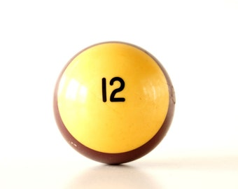 "Vintage Purple Striped 12 Pool Ball / Billiard Ball, Standard Regulation Size (2-1/4"") - Collectible, Home Decor, Altered Art"