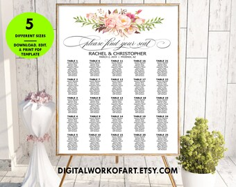 Floral Find Your Seat Seating Chart Template, DIY Floral Boho Wedding Seating Poster printable, Editable PDF Template, instant download, #RC