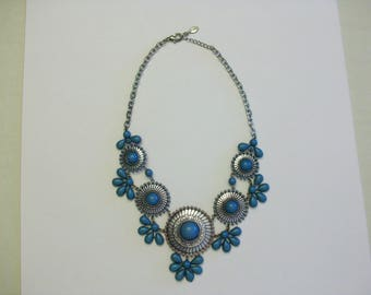 Turquoise and silver necklace.  All stones present.  Maker ICING.