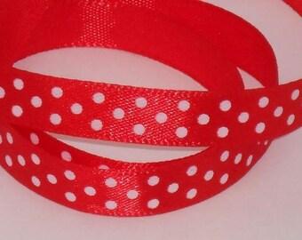 5 m ruban satin rouge à pois blanc largeur 9 / 10 mm