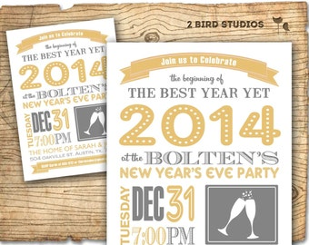 New years party invitation - new years party invite - Adult holiday party invite - Christmas printable invitation