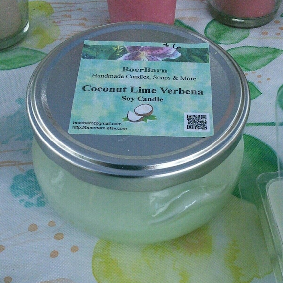 Coconut Lime Verbena Scented Soy Candles in Glass Tureen Jars - Choose from 3, 6 or 11 oz