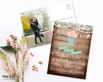 Mason Jar Wedding Save the Date, Rustic Save the Dates Postcard, Save the Date Postcard, Hanging Lights Engagement Announcement DIY Cards
