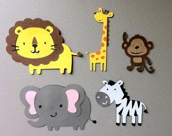 Set of 5 Jungle Safari Animals - Monkey, Lion, Giraffe, Zebra & Elephant