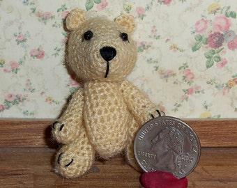 Miniature Crochet Cream Bear Thread Artist Bear  Ready to Ship