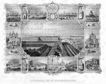 Vintage souvenir sheet from Saint Petersburg to direct download, steel engraving around 1880, Санкт-Петербург
