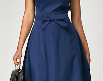 Navy Blue Dress,Midi Dress,Dress With Pockets,Mini Dress, Dress With Sash,Knee Length Dress