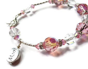 MOM Bracelet, Gift for Mom, Mothers Day Gift, Birthstone Bracelet, Swarovski Bracelet, Sterling Silver