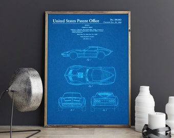 Chevy Corvette, Patent Art, Patent Prints, Patent Posters, Blueprints, Automotive Art, Automotive Decor, Garage Art, Garage Decor, Boys Room