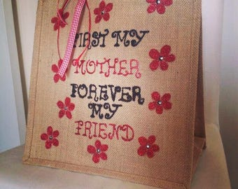 Hand painted quote bag.