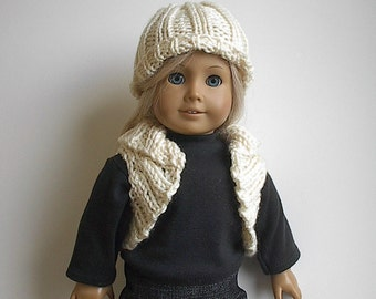 "18 Inch Doll Clothes - Handknit Bolero Shrug Vest and Matching Hat in Cream Rib Stitch Handmade to Fit the American Girl and Other 18"" Dolls"