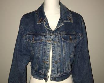 Vintage Rare 80's Cropped Denim Jacket / size medium / by Cheldiz Market