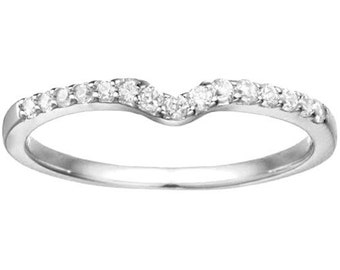 Delicate Notched Contour Band - Curved Ring -Sterling Silver with Cubic Zirconia (.15)