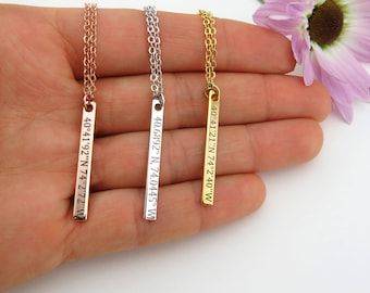 Location Necklace, Coordinates Necklace, Latitude Longitude Necklace, GPS,  Custom Coordinates Necklace, VicJewelry