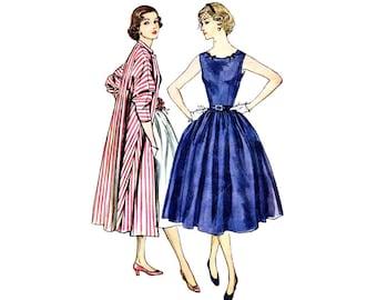 1950s Misses Sleeveless Dress Mandarin Collar Kimono Sleeve Coat Simplicity 3789 Vintage Sewing Pattern Size 16 Bust 34