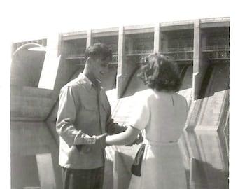 "Vintage Snapshot ""Afraid Of Heights"" Man & Woman Near Dam Found Vernacular Photo"