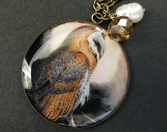 Owl Necklace in Bronze Charm Necklace with Amber Crystal and Fresh Water Pearl. Handmade Jewelry.