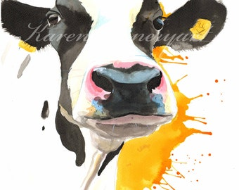 Cow print, animal print, art print, farm animal print , cow painting, fresian , Cow, cow art, cows, Art, Print, Black and white cow