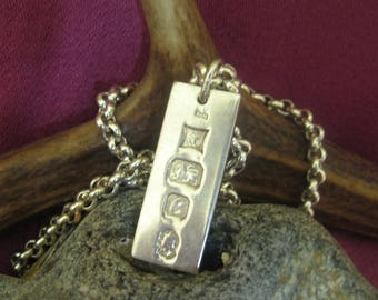 Chunky Sterling Silver Ingot on Chain