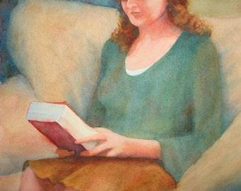 Girl Reading Original Watercolor Painting