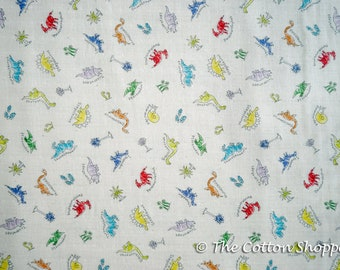 Kokka Trefle Mini Cucito Dinosaurs ~ Double Gauze Fabric ~ Japanese Fabric ~ Kids Fabric ~ Quilting Fabric~ Home Decor Fabric~Apparel Fabric