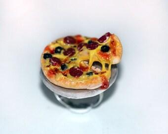 Pizza Ring -  Kawaii Ring - Food Jewelry - Pizza Jewelry - Italian Food Jewelry - Miniature Food Ring