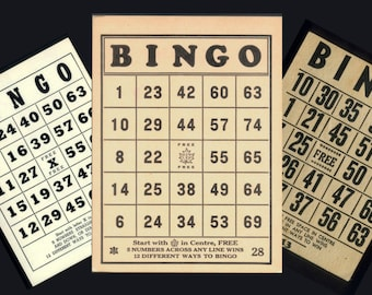 Eight Vintage Bingo Cards - So Much Fun in Crafts and Mixed Media Projects!