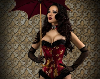 Stunning Handmade Red Brocade Silk Floral Steel Boned Overbust Corset with Black Pleated Victorian Trim Detail Custom Made Just for You