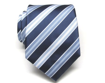 Mens Tie. Necktie Navy Blue Pale Blue White Stripes Mens Tie.  Wedding Ties. Groomsmen's Ties