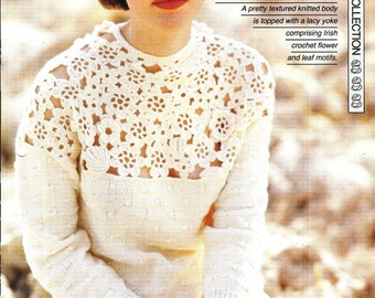 """Mix crochet and knitting pattern - Woman's """"Lace Dream"""" sweater jumper top - Instant download"""