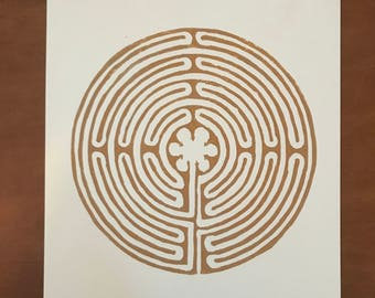Labyrinth Block Print
